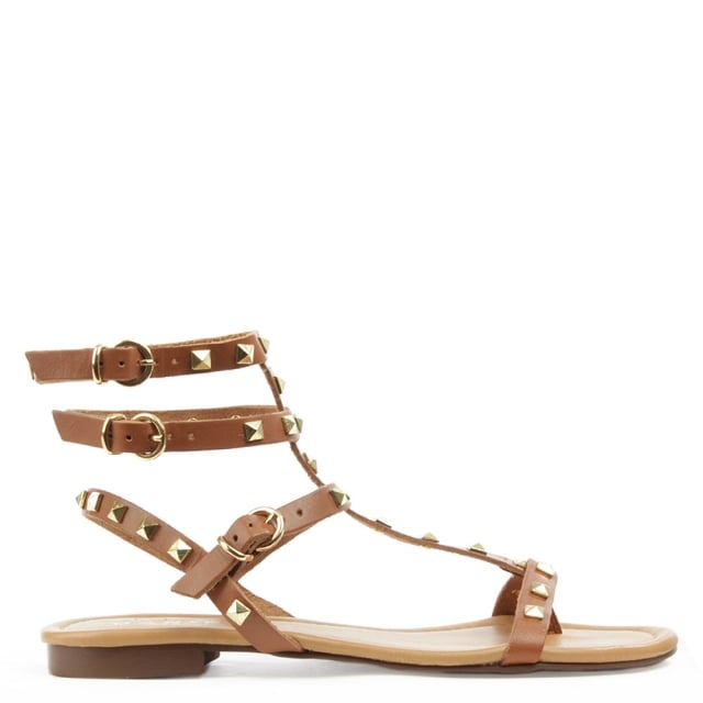 William Square Tan Leather Studded Gladiator Sandal