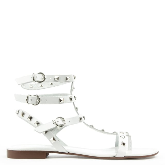 William Square White Leather Studded Gladiator Sandal