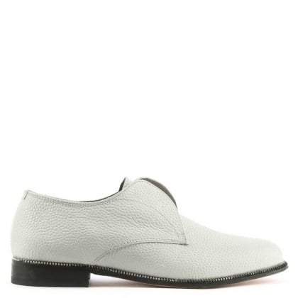 Willow White Leather Lace Less Derby Flat