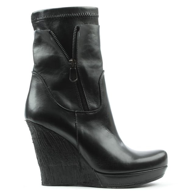 Wilona Black Leather Crepe Wedge Ankle Boot