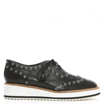 Windchester Black Leather Eyelet Flatform Oxford Shoes