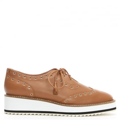 Windchester Tan Leather Eyelet Flatform Oxford Shoes