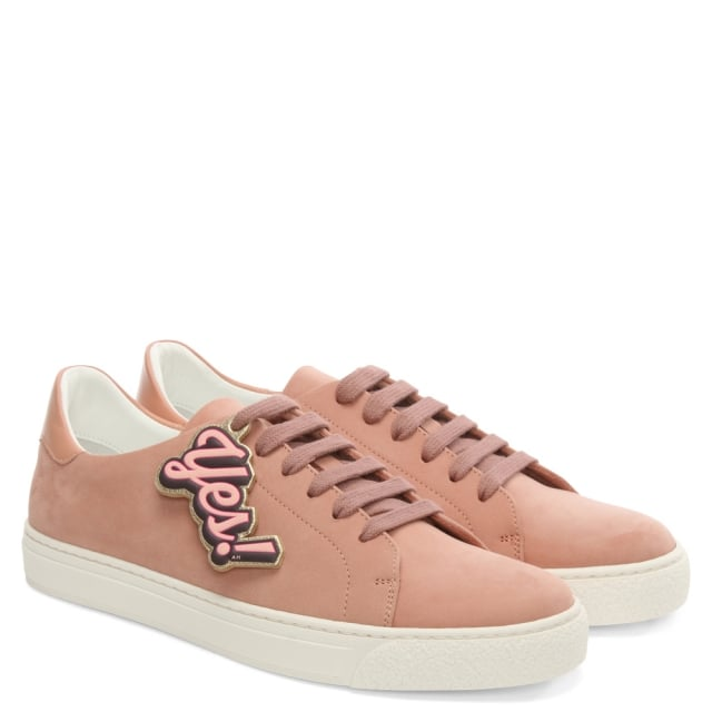 Anya Hindmarch Wink Powder Pink Leather Lace Up Tennis Trainer 8b063baceda