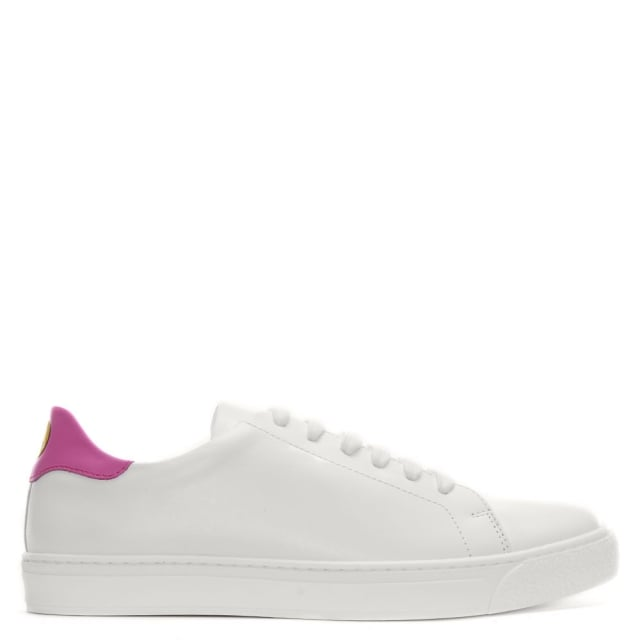 Anya Hindmarch Wink Tennis White & Bubblegum Leather Lace Up Trainers