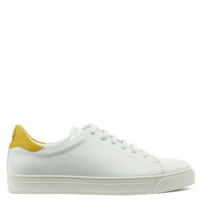 Wink White Leather Lace Up Tennis Trainers