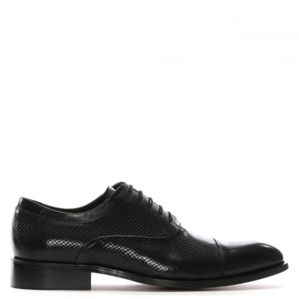 Winsham Black Leather Hole Punch Lace Up Shoes
