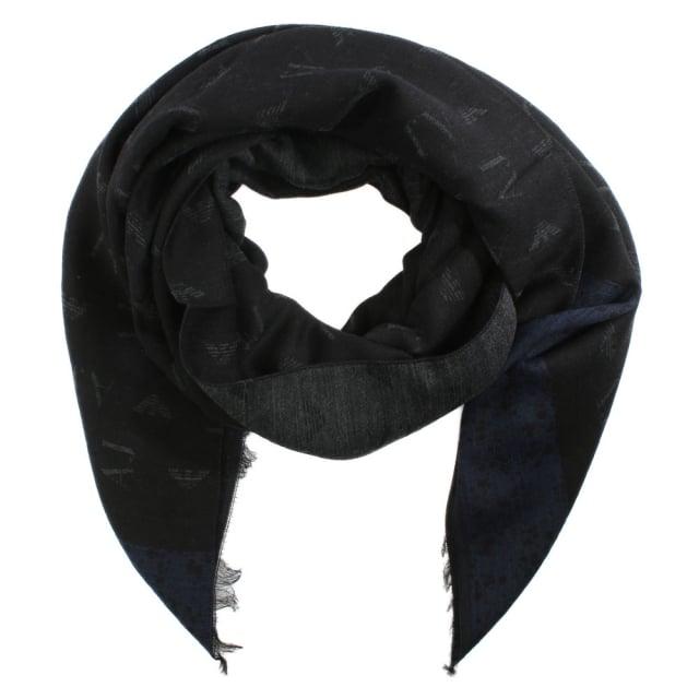 Armani Jeans Winter Black Wool Mix Scarf