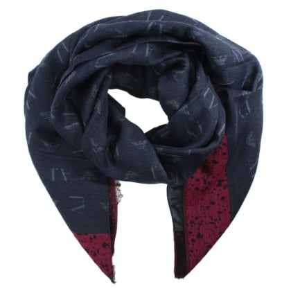 Winter NAvy Wool Mix Scarf