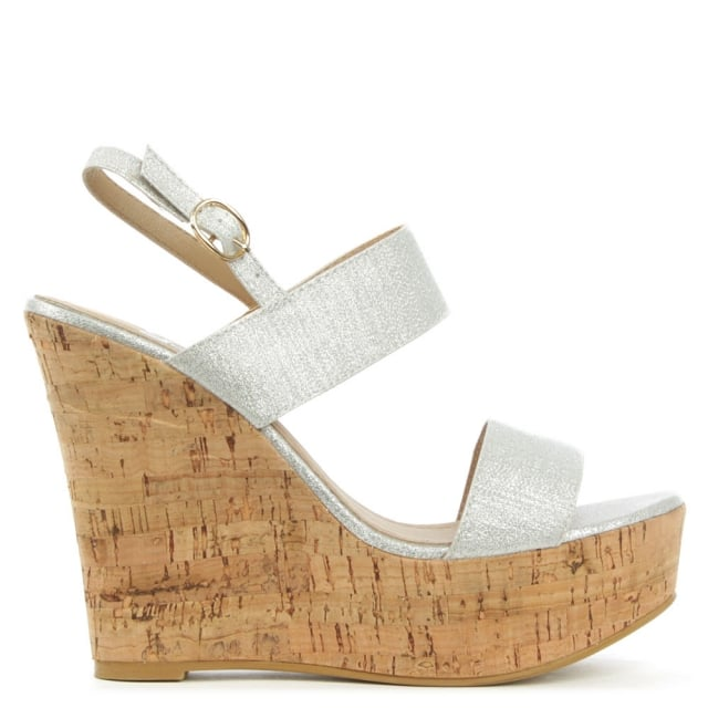 Wirral Silver Shimmer High Cork Wedge Sandal