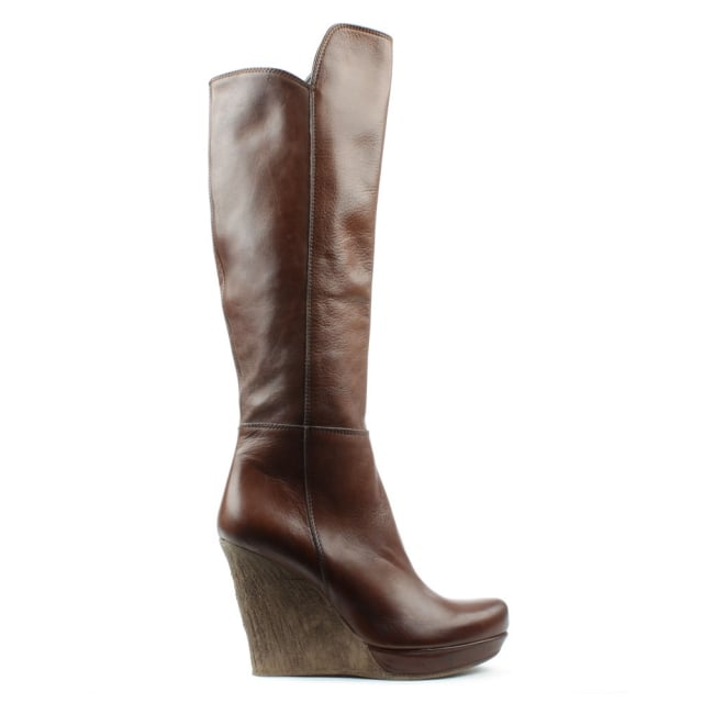 Wisdom Tan Leather Knee High Wedge Boot