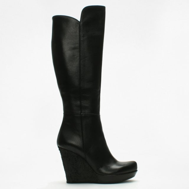hot-selling newest deft design hot-selling real Wiser Black Leather Knee High Wedge Boots
