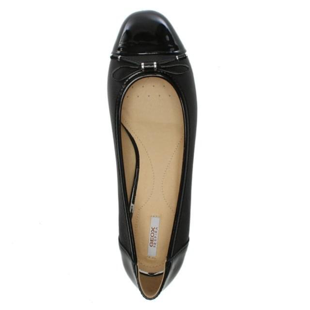 fd47f37ea Geox Respira Wistrey Black Leather Ballerina Pumps