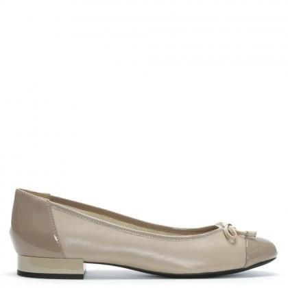 34f0c77658a1 Wistrey Taupe Leather Ballerina Pumps
