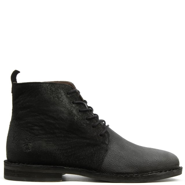 Wive Black Leather Contrast Ankle Boot
