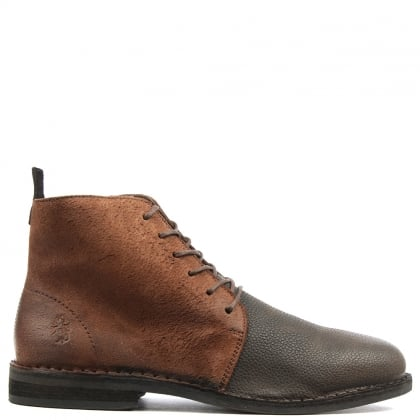 Wive Brown Leather Contrast Ankle Boot