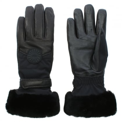 Women's Black Leather Performance Smart Gloves