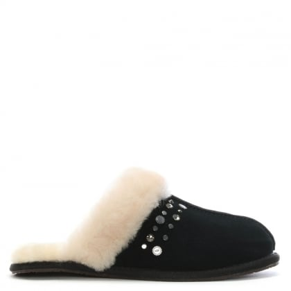 Women's Scuffette Black Studded Bling Slippers