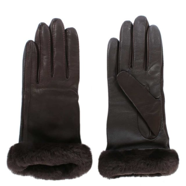 Women's Classic Brown Leather Touchscreen Smart Glove