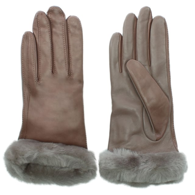 Women's Classic Stormy Grey Leather Touchscreen Smart Glove