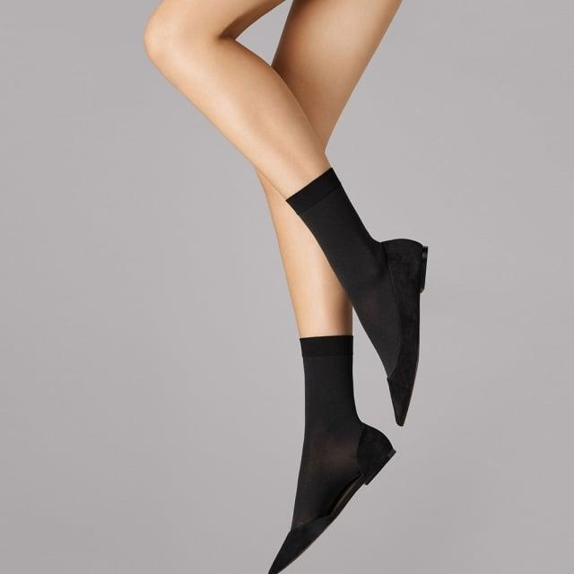 Wolford Women's Matt Black Cotton Socks