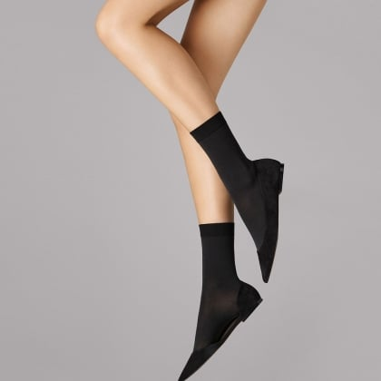 Women's Matt Black Cotton Socks