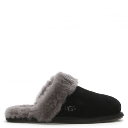 Women's Scuffette Black Grey Shearling Slippers