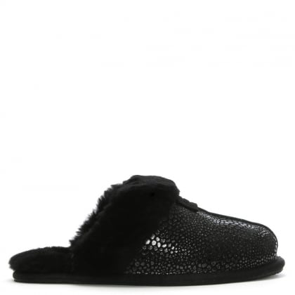Women's Scuffette Black Metallic Shearling Slippers