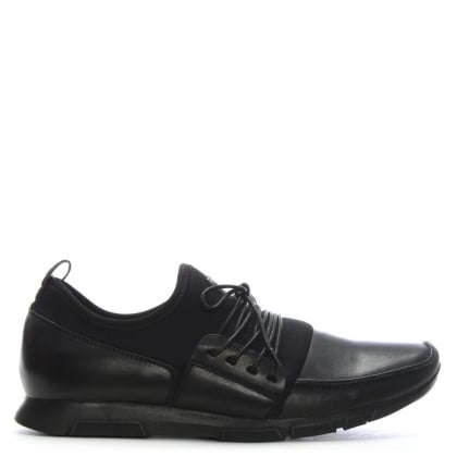 Woodburn Black Leather & Scuba Lace Up Trainers