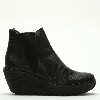 2096f9ce094 Fly London Woss Black Leather Wedge Ankle Boots