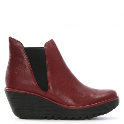 Woss Red Leather Wedge Chelsea Boots