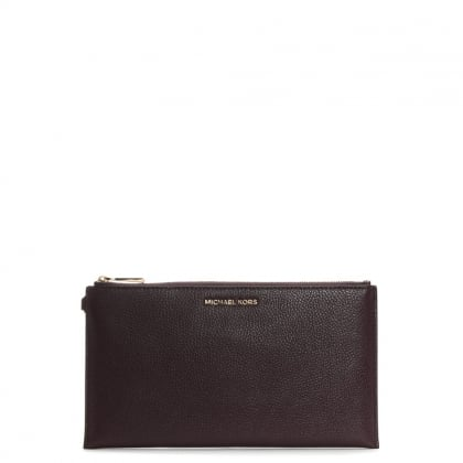 Wristlet Damson Tumbled Leather Clutch Bag