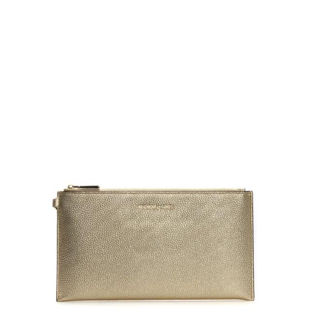 96449c579d85 Michael Kors Wristlet Pale Gold Tumbled Leather Clutch Bag