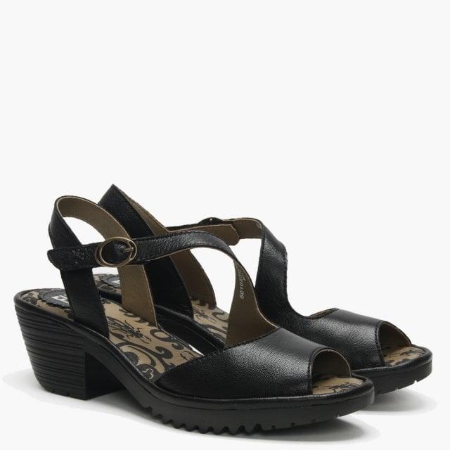 f4f64e1688 Fly London Wyno Black Leather Asymmetric Block Heel Sandals