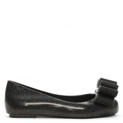 x Jason Wu Kid's Black Glitter Bow Ballet Pumps