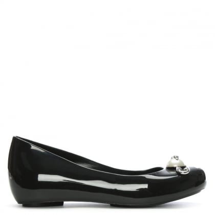x Melissa Black Ultragirl Pearl Safety Pin Ballerina Flats