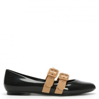 x Melissa Doll Black Contrast Two Strap Ballet Pumps