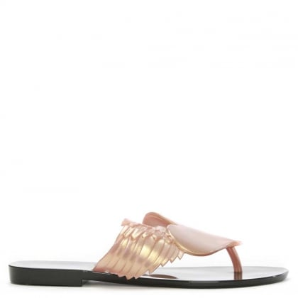 x Melissa Harmonic Cherub Rose Gold Rubber Toe Post Flip Flops