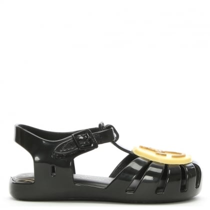 x Melissa Kid's Mini Black Aranha Smiley Face Orb Jelly Shoes