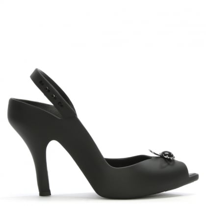x Melissa Lady Dragon Black Matte Pearl Heeled Sandals