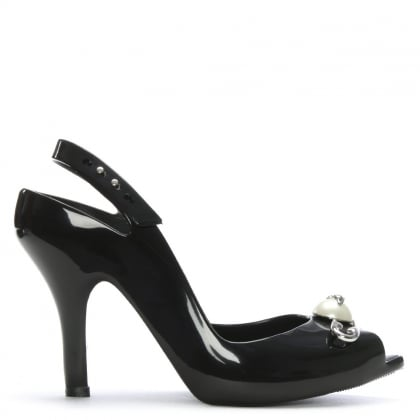 x Melissa Lady Dragon Black Pearl Safety Pin Sandals