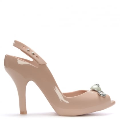 x Melissa Lady Dragon Blush Pearl Safety Pin Sandals