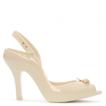 x Melissa Lady Dragon Ivory Pearl Heeled Sandals