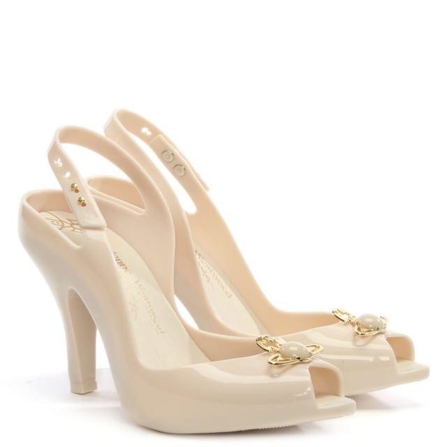 d312feffe39a4 Vivienne Westwood x Melissa Lady Dragon Ivory Pearl Heeled Sandals