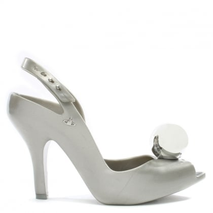 x Melissa Lady Dragon Silver Globe Heeled Sandals