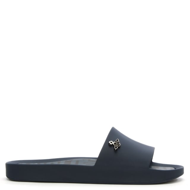 x Melissa Navy Matte Orb Beach Sliders
