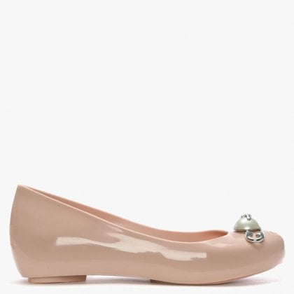 4b90aa690 Vivienne Westwood x Melissa Pink Ultragirl Pearl Safety Pin Ballerina Flats