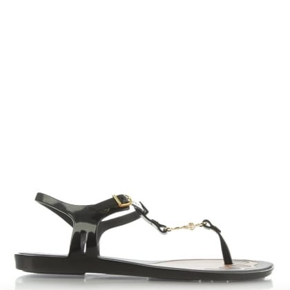 x Melissa Solar Orb Black Toe Post Sandals