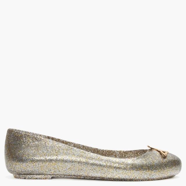 320ca69cb70 Vivienne Westwood x Melissa Space Love 21 Gold Glitter Orb Ballet Pumps