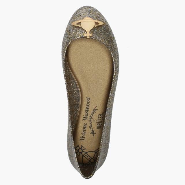 6e5d5feec441 Vivienne Westwood x Melissa Space Love 21 Gold Glitter Orb Ballet Pumps