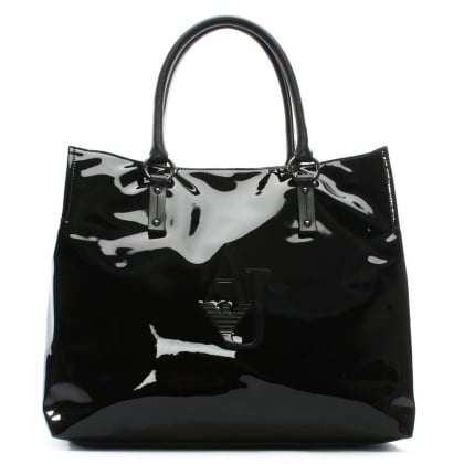 XL Black Patent Eco Leather Shopper Bag